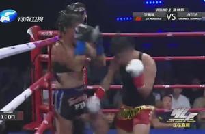 世界泰拳天使,上次被中国散打冠军打肿了脸,这次又被打得够呛