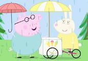 小猪佩奇:天突然下起雨,猪爸爸去买冰淇淋,太阳出来了