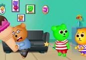 小熊软糖用小狗和幼儿的童谣建造玩具屋动画